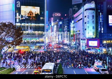 La vie nocturne de Shibuya à Tokyo, Japon. Banque D'Images
