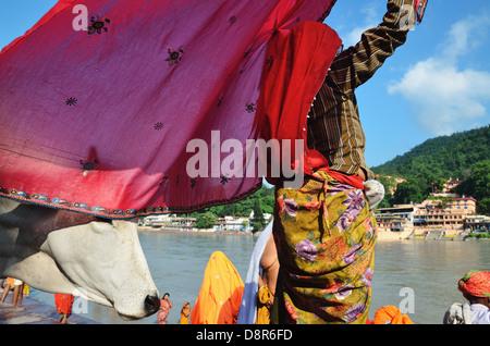 Femme hindoue sari sec après un bain rituel, Rishikesh, Inde Banque D'Images