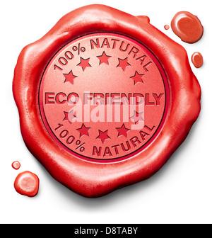 Eco friendly 100% biodégradable naturel écologique de l'énergie durable de l'étiquette ou sur l'icône rouge stamp Banque D'Images