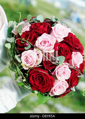 Un bouquet de mariée, close-up, en Suède.