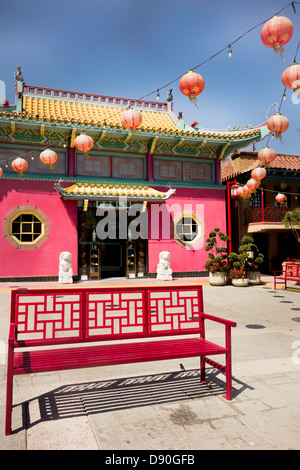 L'architecture traditionnelle chinoise dans le Chinatown Los Angeles California USA Banque D'Images
