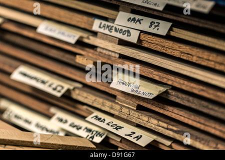 Close up d'étiquettes sur différents types de bois utilisés pour fabriquer des guitares acoustiques
