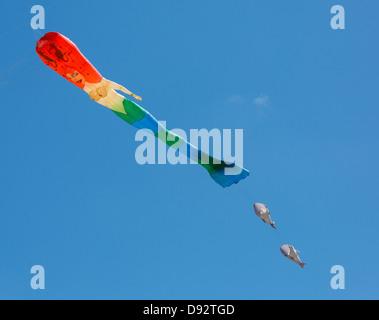 Kite Mermaid avec des poissons contre bleu ciel Banque D'Images