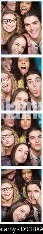 Photobooth strip of friends posing together Banque D'Images