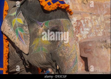 Éléphant coloré de Jaipur, Rajasthan, Inde Banque D'Images