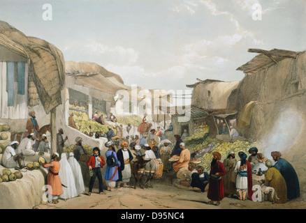 Première: 1838-1842 anglo-afghane à Kaboul (Cabul Bazar) pendant la saison des fruits. Les femmes voilées sur la Banque D'Images