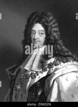 Louis XIV (1638-1715) Roi de France de 1643. Connu comme le Roi Soleil (Le Roi Soleil). Après gravure portrait par Banque D'Images
