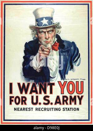 """Je veux que vous pour l'armée américaine"""": Affiche de recrutement de la Première Guerre mondiale, 1917, montrant Banque D'Images"""