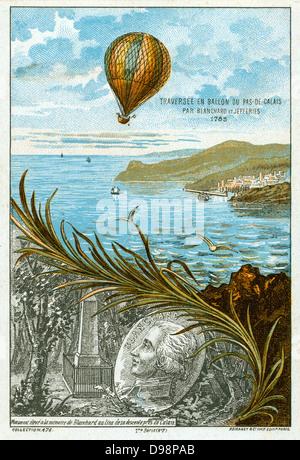Première traversée de la Manche en ballon, le 7 janvier 1785 par Jean-Pierre Blanchard, inventeur français, américain Banque D'Images