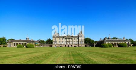 Houghton Hall, Norfolk, Angleterre, avant de l'ouest, Royaume-Uni hôtel particulier, des villas de Palladio, l'anglais Banque D'Images