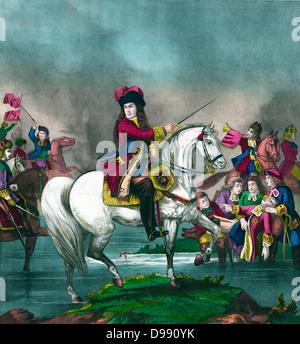 Le roi William III conduisant les troupes britanniques à la bataille de la Boyne, en Irlande, en 1690. Règle commune Banque D'Images