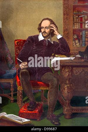 Portrait couleur de William Shakespeare (1564-1616) (Anglais playright) vers 19e siècle Banque D'Images