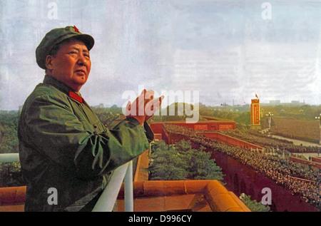Mao Ze Dung, chef politique chinois. (1893 - 1976) Commentaires Gardes rouges 1966 Banque D'Images