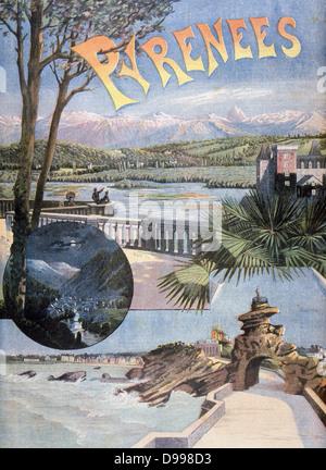 Annonce en fer Midi pour des destinations telles que Biarritz et Luchon. À partir de 'Le Petit Journal', Paris, Banque D'Images