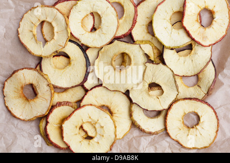 Anneaux de pommes séchées Banque D'Images