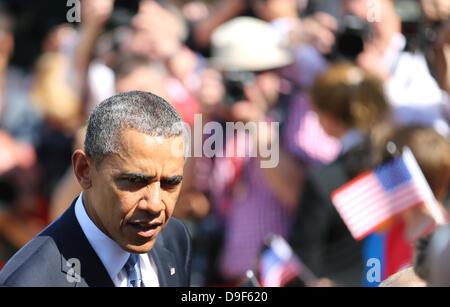 Berlin, Allemagne. 19 Juin, 2013. Le président américain Barack Obama lors de la réception des gestes par le Président Banque D'Images