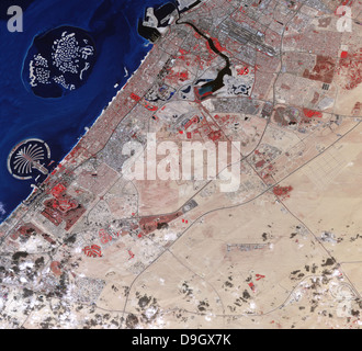 Image en fausses couleurs de la partie de Dubaï. Banque D'Images