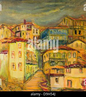 Une peinture à l'huile sur toile de l'ancien village de maisons, avec des rues étroites réparties sur une colline Banque D'Images