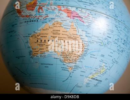 Australie Pacifique emplacement sur world globe Banque D'Images
