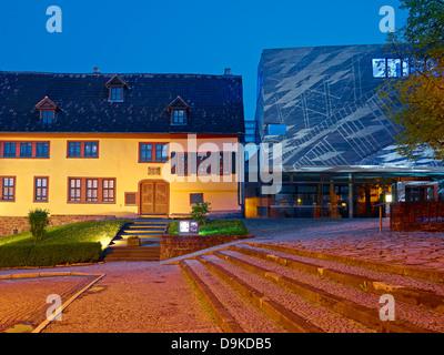 Maison de Bach à Eisenach avec la lumière de l'installation, Thuringe, Allemagne Banque D'Images