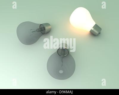 Lumière brillante et une lampe témoin entre autres. Rendu 3D Illustration. Banque D'Images