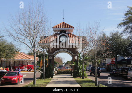 Main Street, ville de jardin d'hiver, la Floride, États-Unis. Banque D'Images
