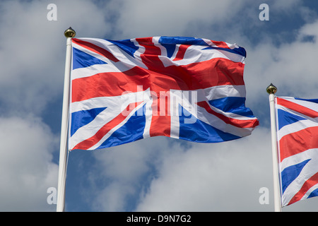 Union Jack flag flying sur mât Banque D'Images