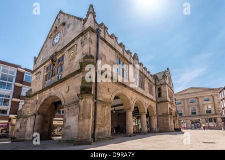 Le Vieux Marché Hall est un bâtiment élisabéthaine située dans le centre-ville de Shrewsbury, la ville du comté Banque D'Images