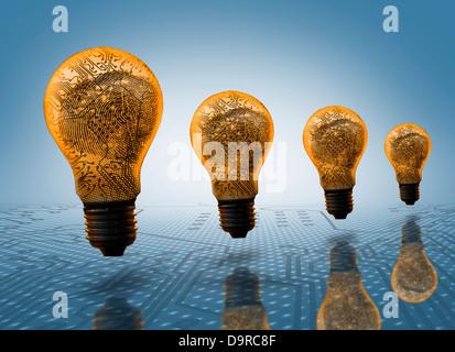 Quatre ampoules dans la rangée Banque D'Images