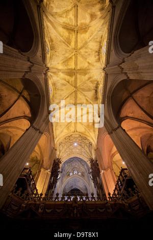 Plafond gothique de la Cathédrale de Séville en Espagne, région d'Andalousie. Banque D'Images