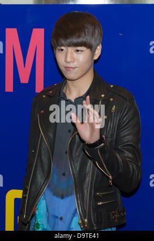 Lee à HyunWoo activité lancement de produit à Séoul, Corée du Sud, le vendredi 21 juin 2013. Banque D'Images