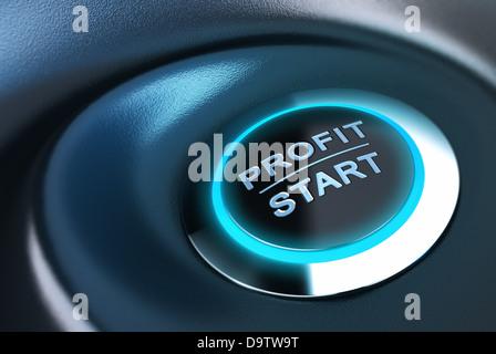 Bouton de profit avec la lumière bleue. Plus de rendu 3d et bleu fond noir convient pour une solution de gestion Banque D'Images