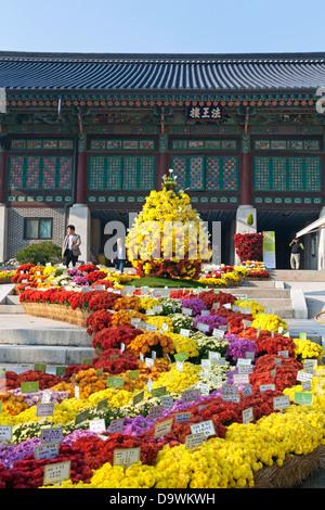 Motifs du Temple de Bongeunsa dans le district de Gangnam de Séoul, Corée du Sud Banque D'Images