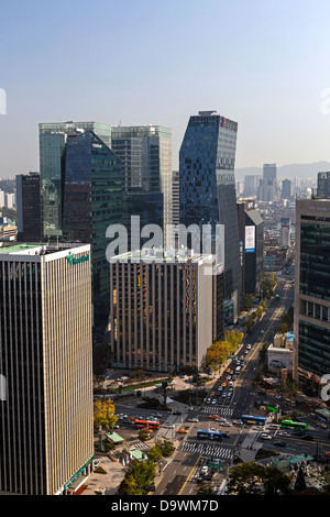 L'architecture moderne, Myeong-dong, Gangnam, Seoul, Corée du Sud, Asie Banque D'Images