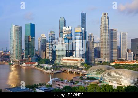 En Asie, Singapour, Singapour et le quartier financier, à l'aube Banque D'Images