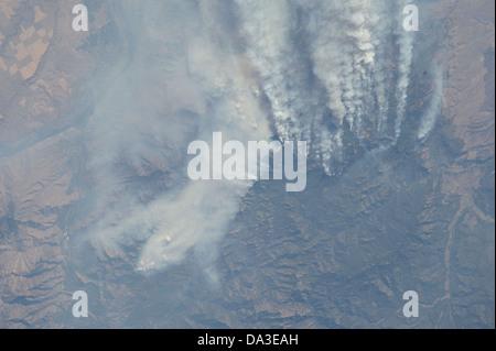 Les incendies de New York 2012 33 à partir de l'expédition à bord de la Station spatiale internationale Banque D'Images