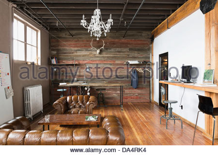 Interior of empty creative office space Banque D'Images