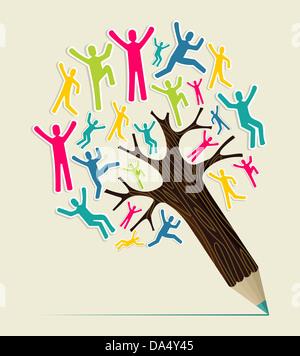 Gens du monde diversité arbre crayon concept. Couches d'illustration vectorielle pour une manipulation facile et Banque D'Images