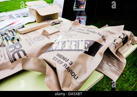 US Army soldat américain les rations MRE (repas, prêt à manger)- ravioli boeuf Banque D'Images
