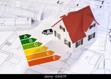 L'efficacité énergétique avec l'étiquette modèle architectural et les bleus. Banque D'Images