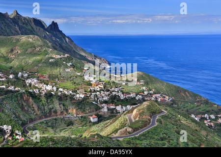 L'Espagne, l'Europe, aux îles Canaries, l'île de Ténérife, Taganana, Tenerife, Teneriffa, bleu, falaise, côte, courbe, Banque D'Images