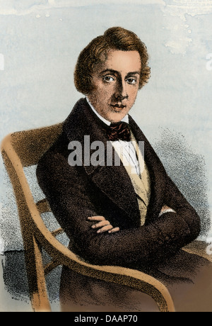 Frederic Chopin à l'âge de 34 ans. À la main, reproduction d'un portrait contemporain Banque D'Images