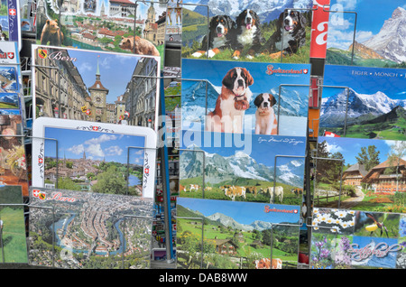 Une exposition de cartes postales suisse Banque D'Images