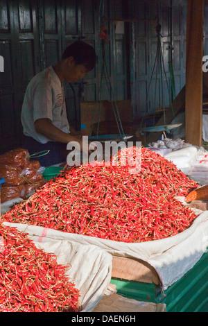 CHILES à vendre au marché central de Kengtung également connu sous le nom de KYAINGTONG, Birmanie, Kengtung, Kyaingtong Banque D'Images
