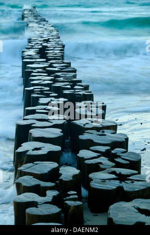 Les eaux de la mer Baltique s'écoule autour des poteaux épi, l'Allemagne, Mecklembourg-Poméranie-Occidentale