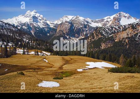 Sommet des Dolomites, Italie groupe Cristallo, Tyrol du Sud, Dolomites, le Parc Naturel de Fanes-Sennes-Prags Banque D'Images