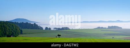 De basses montagnes Eifel dans morning mist, Aremberg en arrière-plan, l'Allemagne, Rhénanie-Palatinat, Hohe Eifel, Banque D'Images