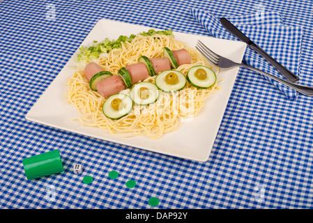 Un repas pour enfants, décorée pour le rendre plus attrayant Banque D'Images