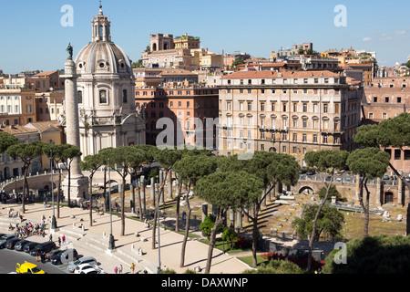 Vue panoramique de Rome du bâtiment Vittoriano, sur la piazza Venezia, Italie Banque D'Images