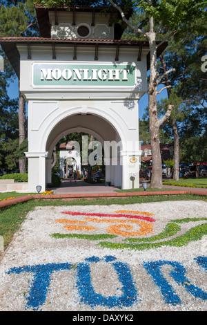 Türkei, Kemer, Eingang zum Moonlight Beach Banque D'Images